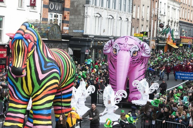 17/03/2016. Pictured are performers on St Patrick