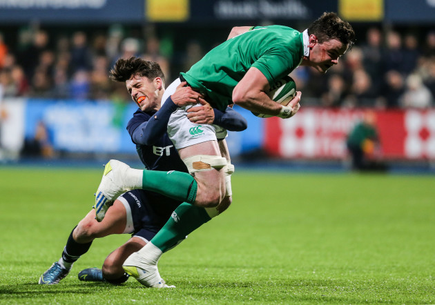 James Ryan tackled by Adam Hastings