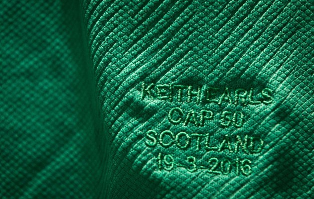 A view of Keith Earls 50th cap jersey