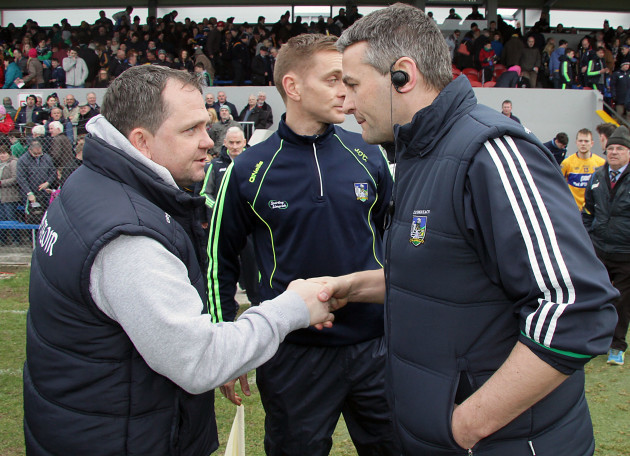 Davy Fitzgerlad and TJ Ryan shake hands after the game