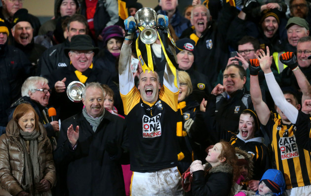 Paul Hearty lifts the cup