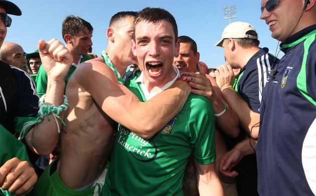 Seanie Tobin celebrates at the final whistle with fans