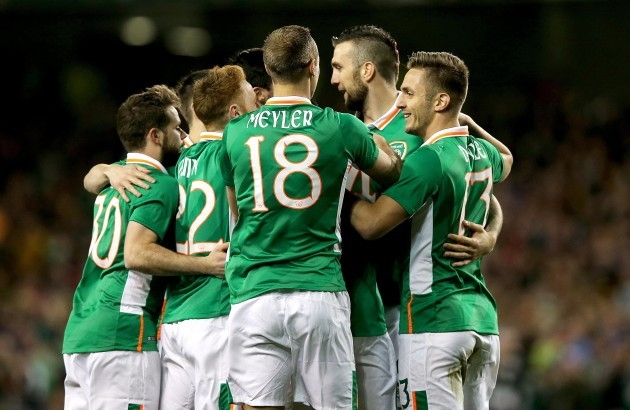 Ireland players celebrate Ciaran Clark's goal