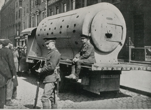 Boiler used as armoured tank by British Army