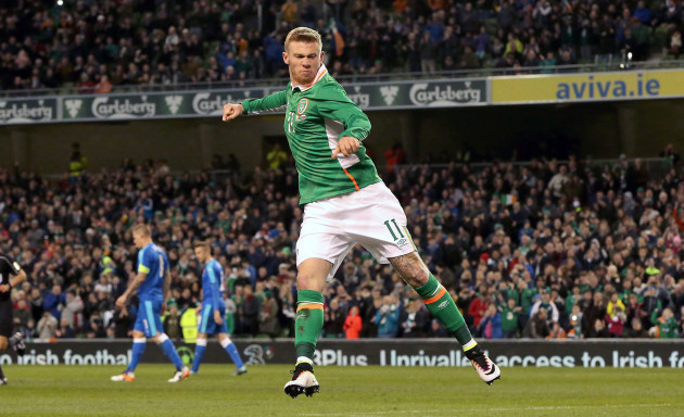 James McClean celebrates scoring Ireland's second from the penalty spot
