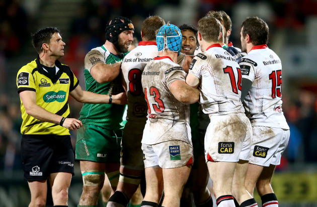 Bundee Aki has words with Ulster players