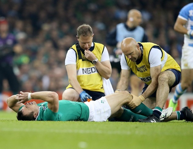 Tommy Bowe down injured with James Allen and Dr Eanna Falvey