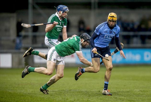 Dublin's Eamon Dillon with Limerick duo Gavin O'Mahony and Wayne McNamara