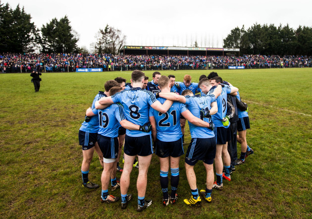 The Dublin team huddle