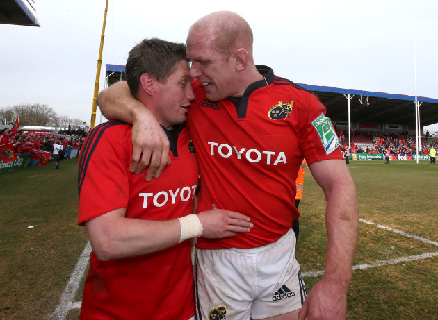 Ronan O'Gara and Paul O'Connell celebrate
