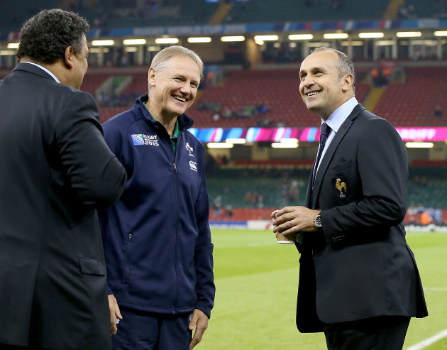 Joe Schmidt with Serge Blanco and Philippe Saint-Andre