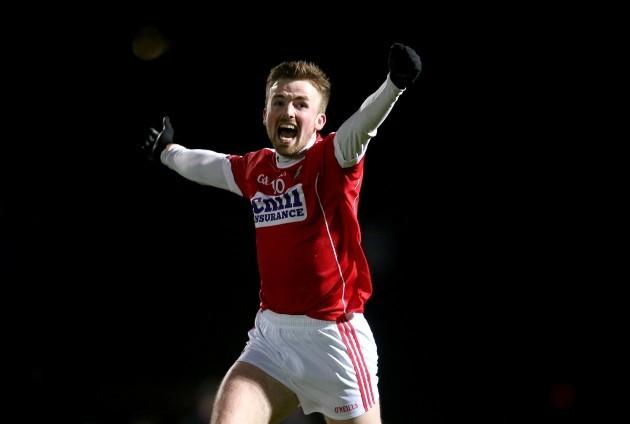 Cian Dorgan celebrates at the final whistle