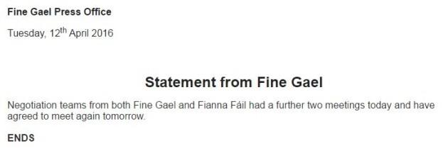 fine gael statement