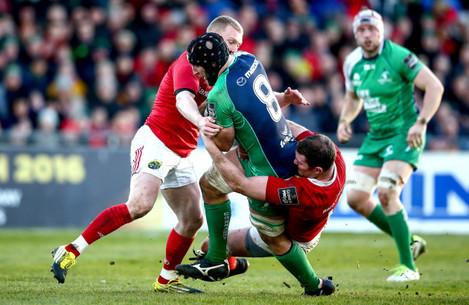 Keith Earls and Donnacha Ryan tackle John Muldoon