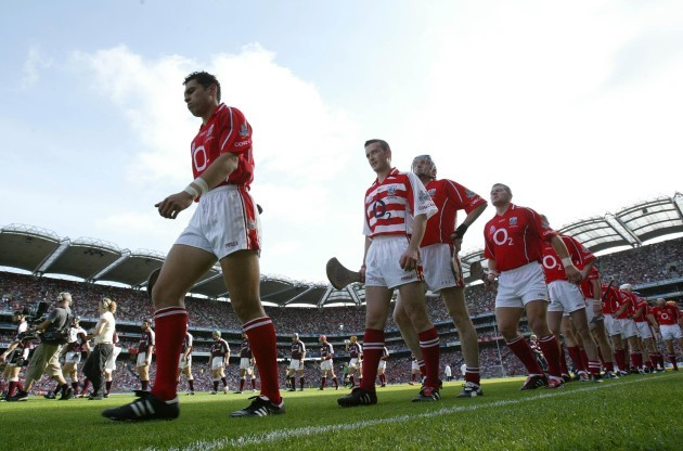 Donal Og Cusack (2nd from left) during the team parade