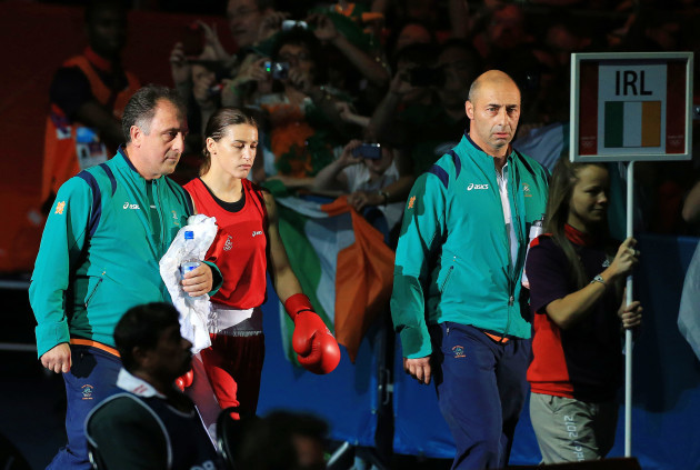 Katie Taylor makes her way to the ring