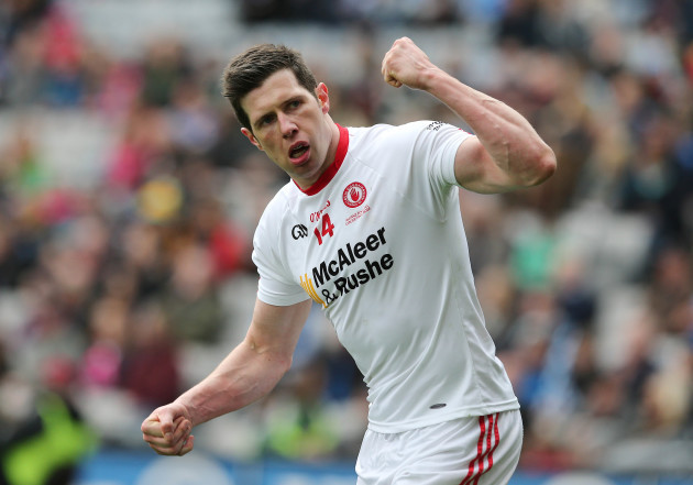 Sean Cavanagh celebrates after scoring a point