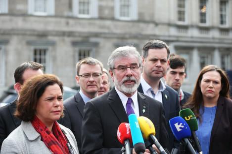 5/4/2016. Sinn Fein President Gerry Adams arrives