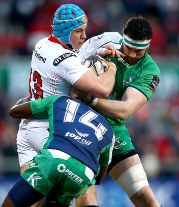 Niyi Adeolokun and Andrew Browne tackle Luke Marshall