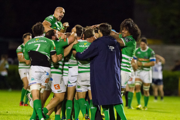 Treviso players celebrate winning