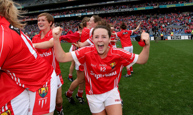 Orlagh Farmer celebrates at the final whistle
