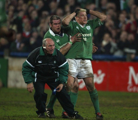 Mark McHugh celebrates his winning penalty with Peter Bracken