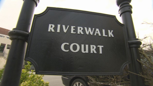 Firetrap Homes - TV3 Investigates - In picture: Sign outside Riverwalk Court