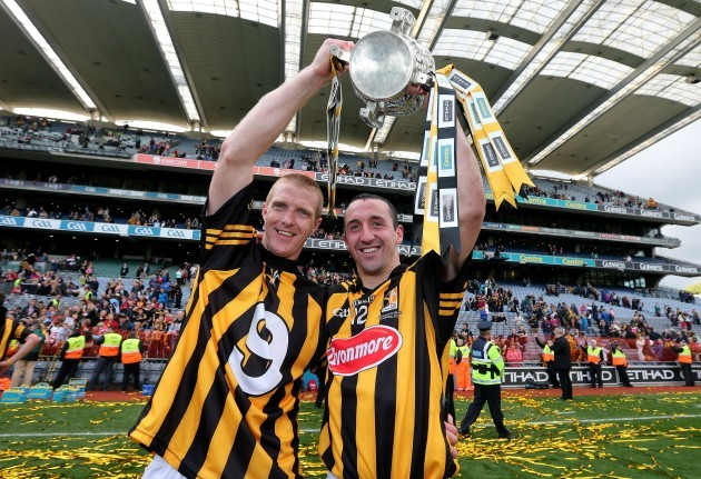 Henry Shefflin and Eoin Larkin celebrate after the game
