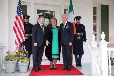 Video President Joe Biden greets Taoiseach Enda Kenny and his wife Fionnuala
