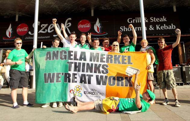 Irish fans with the Angela Merkel flag