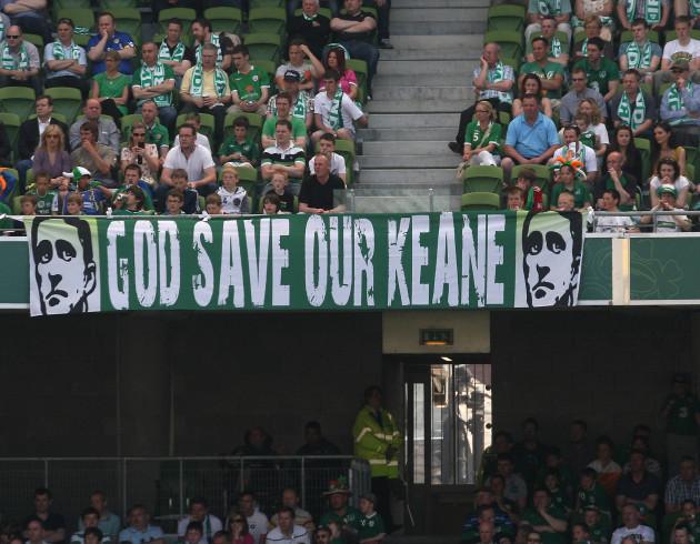 Ireland fans display a flag