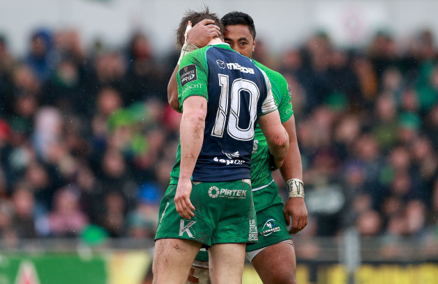 Bundee Aki celebrates scoring his side's first try with AJ MacGinty