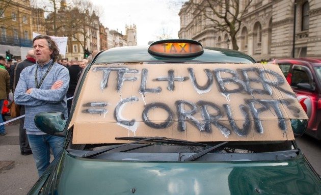Taxi drivers protest