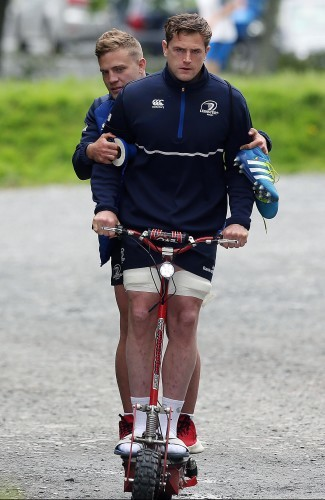 Ian Madigan hitches a ride with Jamie Heaslip
