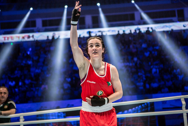 Kellie Harrington salutes the crowd after the fight