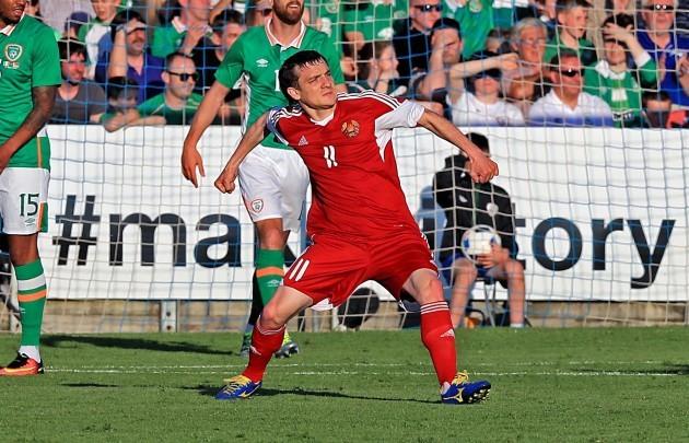 Mikhail Hardzeichuk celebrates scoring his side's first goal