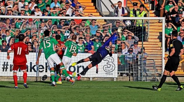 Mikhail Hardzeichuk scores his side's first goal