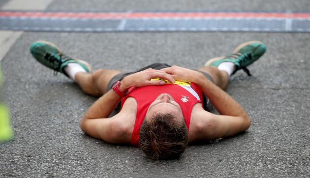 Thomas Cornthwaite after crossing the finish line