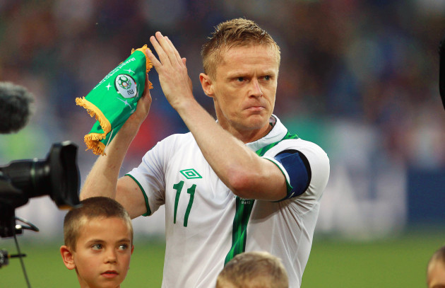 An emotional Ireland captain Damien Duff