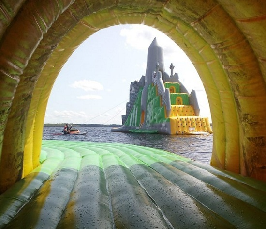 The World S Largest Inflatable Water Slide Is On A Lake In