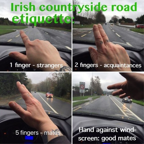 Made a little #meme to illustrate the #Irish #countryside #road #etiquette. May be applied in #Dublin too, but don't expect the #greeting to be returned. #Ireland #IrishDrivers #bogger #culchie #manners