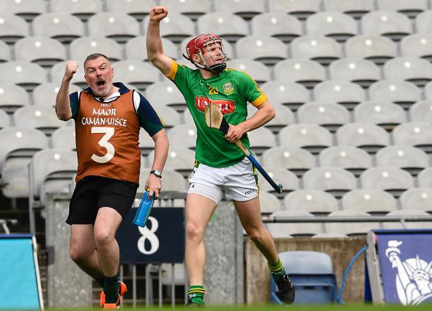 Sean Quigley celebrates scoring the winning point in injury time