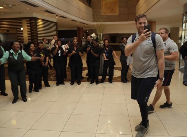 Jamie Heaslip appreciates the welcome from the hotel staff
