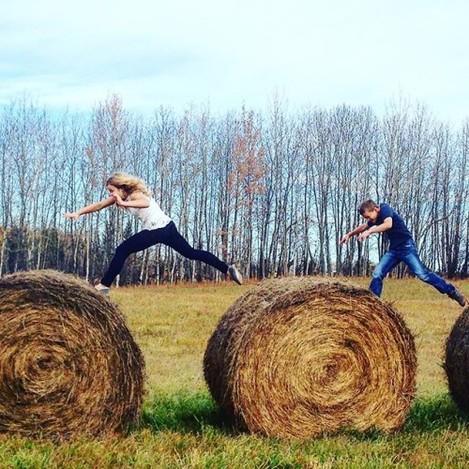 Oh to be a kid again... #jumpingbales #laketimefun