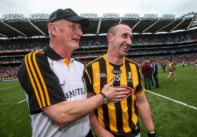 Brian Cody celebrates with Eoin Larkin