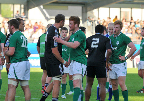 Ireland and New Zealand players at the end of the game