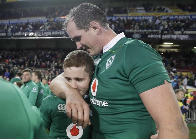 Paddy Jackson celebrates after the match with Devin Toner