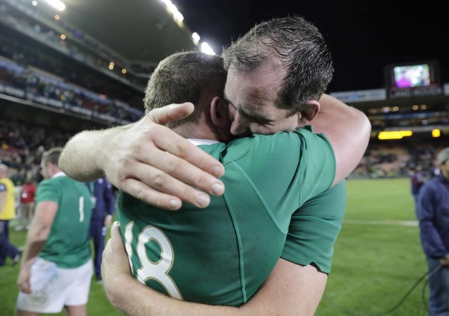 Tadgh Furlong celebrates with Devin Toner after the match