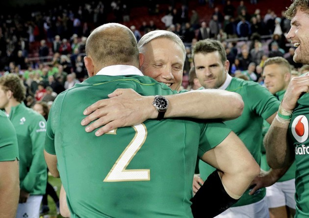 Joe Schmidt celebrates with Rory Best after the match