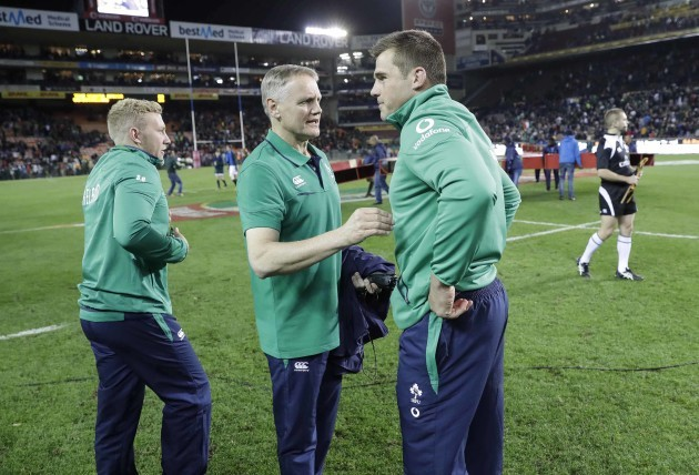 Joe Schmidt with CJ Stander after the match